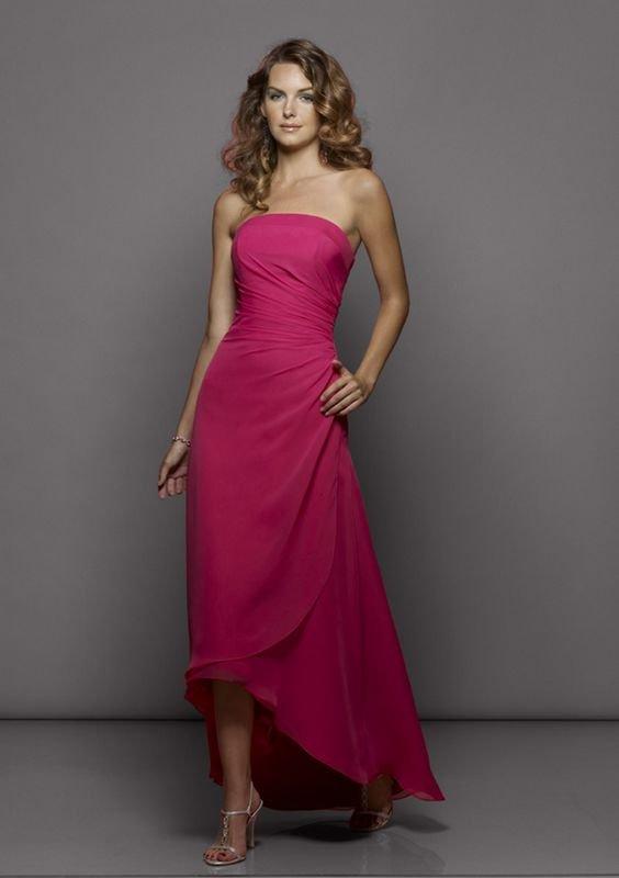 d14aa7b8f59 Robe demoiselle d honneur robe de soirée élégante rose en mousseline de  soie A-